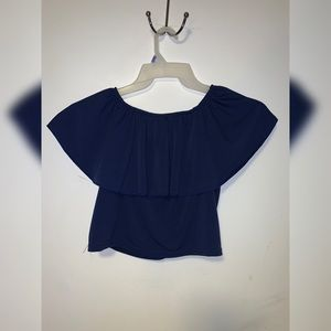 Blue crop top shoulder ruffles